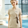 SPA Workwear Spring/Summer Short Sleeve Pure Cotton Beige Blouses+Trousers Overalls Female Hospital Nurse Uniforms Wholesales