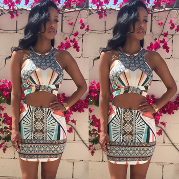2-Piece Print Bodycon Dress