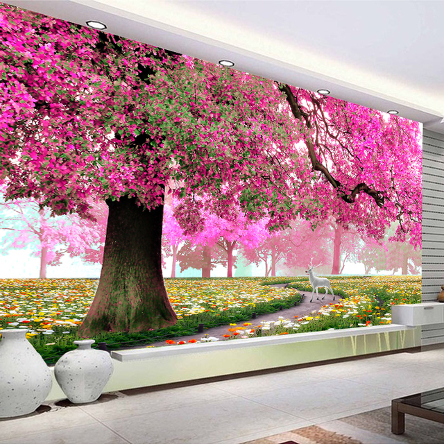 Custom Photo Wallpaper Wall Mural Painting Modern Romantic Cherry