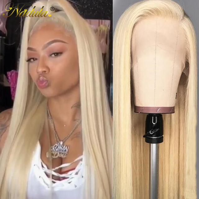$ US $97.56 Nadula Hair 13*4/6 Blonde Lace Frontal Wig 150% Density Brazilian Straight Human Hair Wigs 613 Lace Front Wigs for Black Women