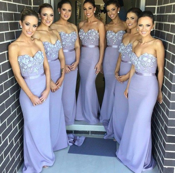 Mermaid Lilac Bridesmaid Dresses Chiffon Long Decorated with Flowers ...