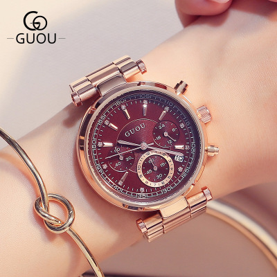 GUOU Watch Women Luxury Brand Rose gold Fashion Quartz Watches Multifunction waterproof Full steel Wristwatch relogio feminino fashion women calendar rose gold quartz watch luxury brand guou six pin retro big dial female multifunction waterproof clock
