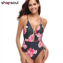 Thong One Piece Swimsuit Women 2019 High Waist Retro Vintage Swimwear Floral Print Bandage