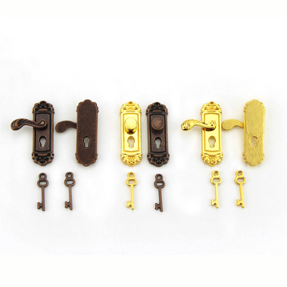 1/12 Dollhouse Miniature Accessories Mini Metal Door Lock With Key Simulation  Model Toys For Doll House Decoration