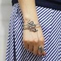 Antique Silver Alloy Snake Bracelet Ring Women Punk Personality Animal Jewelry Snake Cuff Bangle brazaletes pulseras mujer