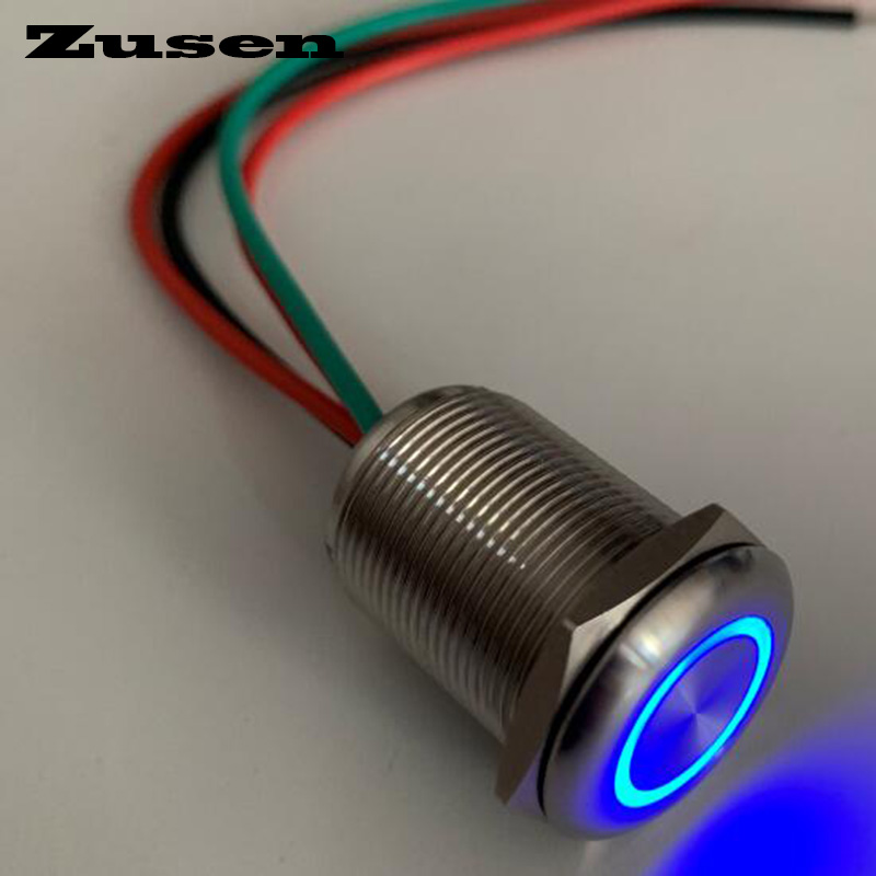 Zusen new <font><b>19mm</b></font> flat head touch <font><b>switch</b></font> on/off type with wires push button <font><b>switch</b></font> with 6-24V <font><b>led</b></font> IP67 image