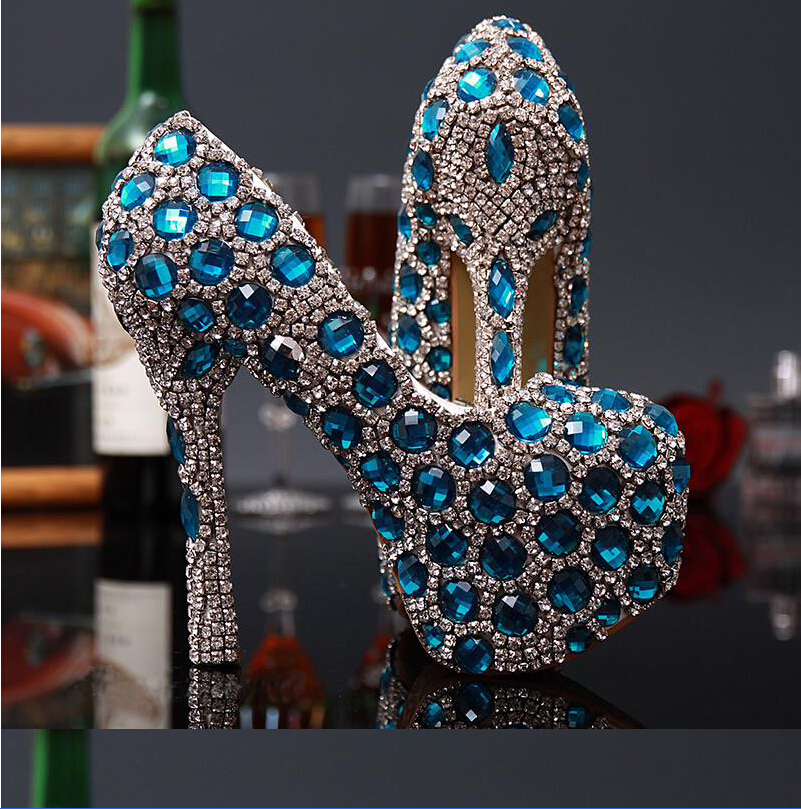 Фотография Sexy Glamorous Wedding shoes woman Shiny Turquoise Crystal Decked Stiletto Heel Pumps Round Toe Platform shoes woman for Woman