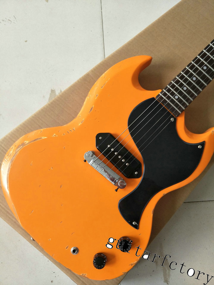 Custom Shop Heritage orange Finish and Pearl Dot Markers SG Guitars For Sale with worn guitar do the old sh guitar 100% real pictures nature wood finish ymh sg custom electric guitars chinese oem push pull pot guitar for sale