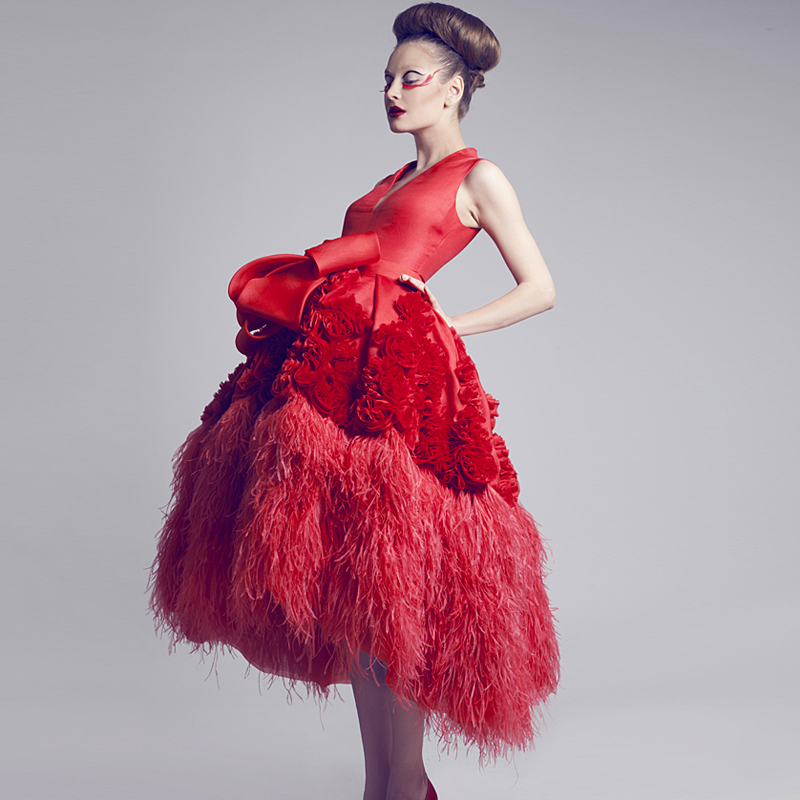 Feather Dressing Gown: Gorgeous Luxury Red Ball Gown Short Prom Dresses With