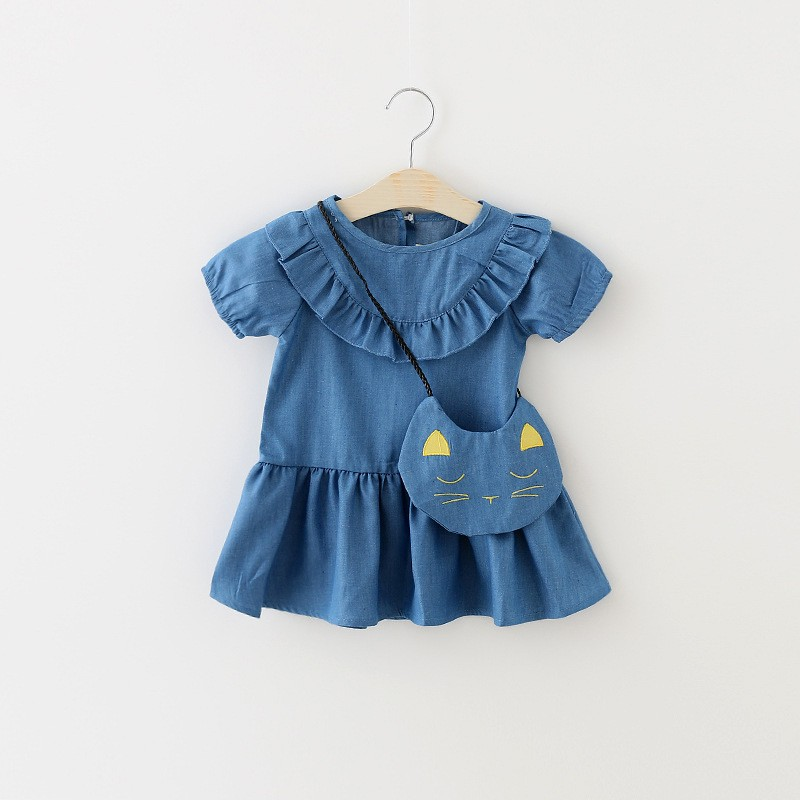 bag+dress 2pcs girls denim dress 2016 summer new cute cat print girls clothes casual Flounced vestido infantil suit 7-24M