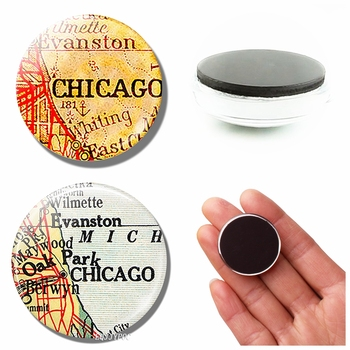 Vintage Chicago Map 30 MM Fridge Magnet Evanston America Glass Dome Magnetic Refrigerator Stickers Note Holder Home Decoration image