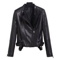 2018 Women Black Genuine Biker's Leather Jacket Diagonal Zipper Slim Fit Short Real Sheepskin Spring Riding Coat FREE SHIPPING