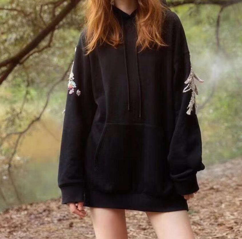 100% хлопок хорошее качество Вышивка Пуловеры Топы женские с длинным рукавом Повседневный стиль толстовки Весна Новые модные брендовые пальто gx1674 - 3