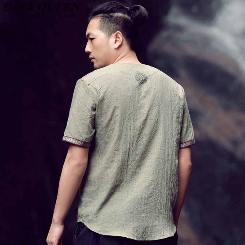 半袖唐装トップ男性カンフー太極拳制服シャツブラウス繁体字中国語服の服 KK006