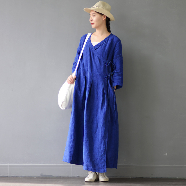 SCUWLINEN Vestidos 2017 Spring Autumn Dresses Solid Vintage V-neck Three Quarter Long Linen Dress Women Casual Sexy Robe S303
