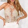 JYConline Elegante Lace Top Curto Cropped Feminino Praia Verão Curto Halter Tops Blusas Sexy Camis Gaze Metálico Parte Superior Do Tanque Das Mulheres