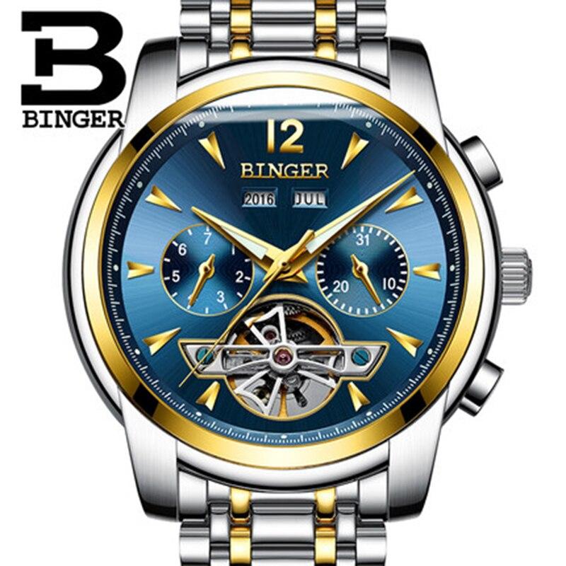 Genuine Luxury BINGER Brand Men Self-wind waterproof full steel automatic mechanical male Hollow Luminous gold watch
