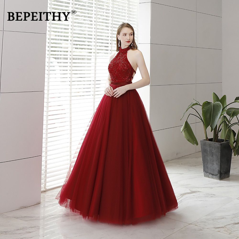 Vestido De Festa Longo Halter Wine Red   Prom     Dresses   Sexy Backless Long Evening   Dress   Party Gown 2019 New Arrival