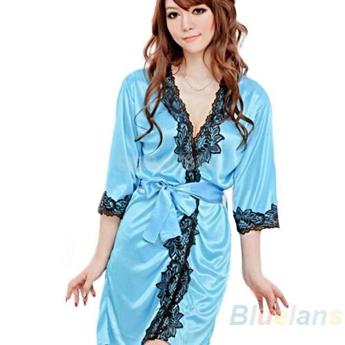 2016 Sexy Lingerie Underwear Set Faux Silk Lace Work Sleepwear Bathrobe Bath Robe Nightgown for Women 4 Colors 8OMR