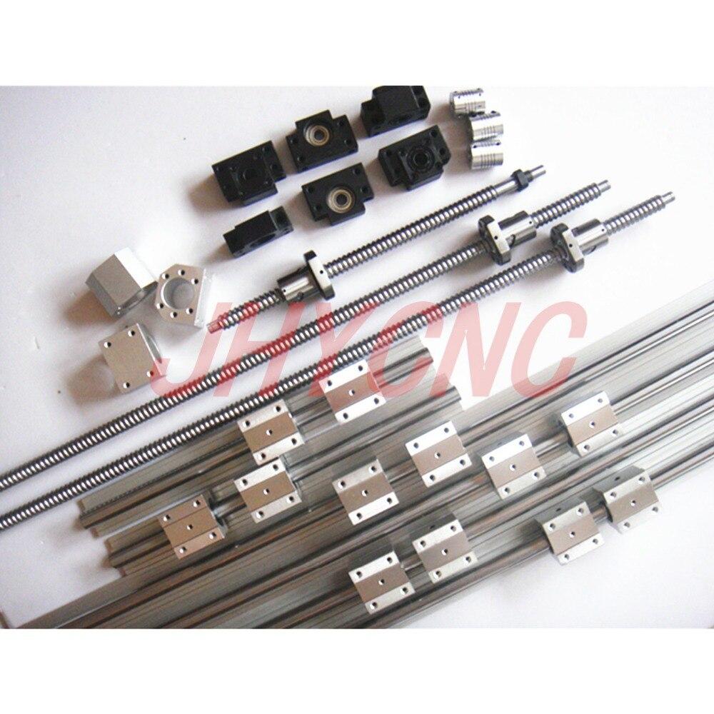 6 sets linear rail SBR20 L400/700/700mm + SFU1605-450/750/750mm tornillo de la bola + 3 BK12/BF12 + 3 DSG16H tuerca + 3 acoplador para cnc