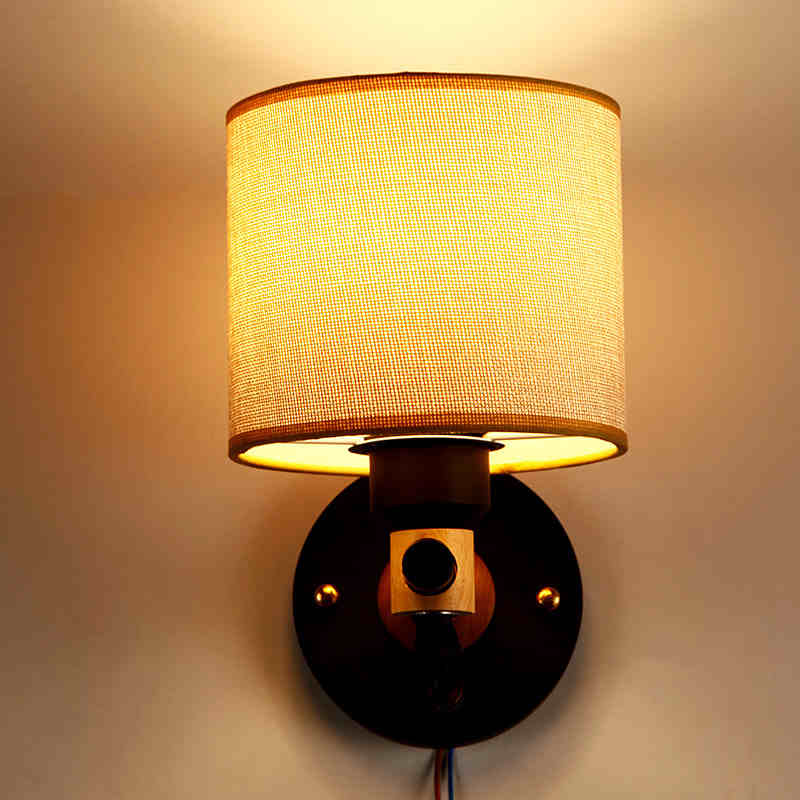 American Country Designer Originality Personality Wall Lamp Bedroom Aisle Balcony Wooden Cloth Wall Light Free Shipping