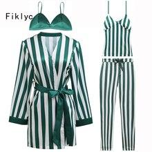 Fiklyc brand 2018 spring new design four pieces satin pajamas sets bathrobe  + bras + tops c5fc3120e