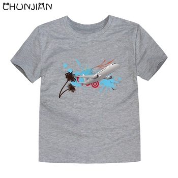 CHUNJIAN 2017 children t shirts for girls boys cotton t shirt girls T-Shirt kids t shirts summer Tops & Tees kids plane shirt