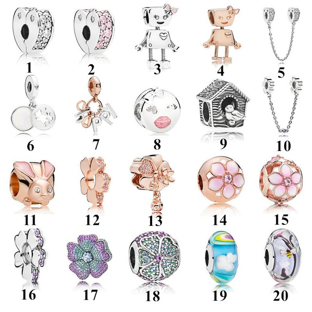 2018 Spring Collection Bella Bot and Friends & Hope of Spring Charm Beads Fits  Bracelet 925 Sterling Silver DIY Jewelry.