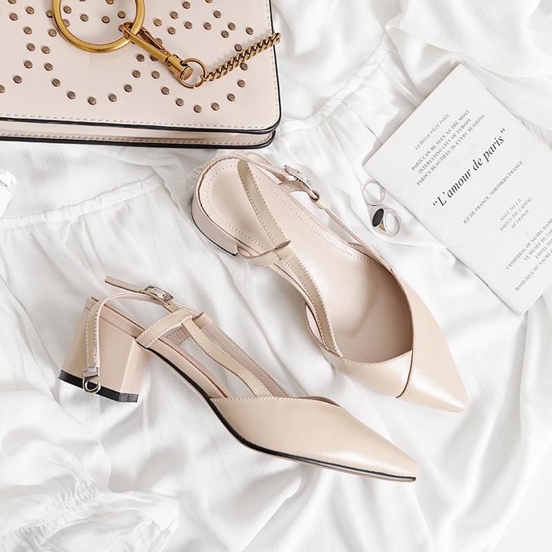 Chaussures Carré Sandales Talons Bout Hauts Été Diapositives Pointu Femmes L'extérieur Femme À Apricot blanc nO80PwkX