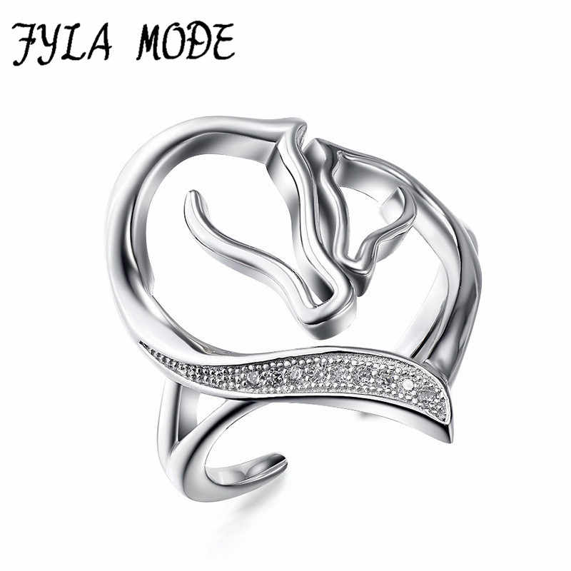 Fyla Mode Double Horse Head Open Rings Genuine 925 Sterling Silver Rings Jewelrys For Women Rings Gift anillos Adjustable Size