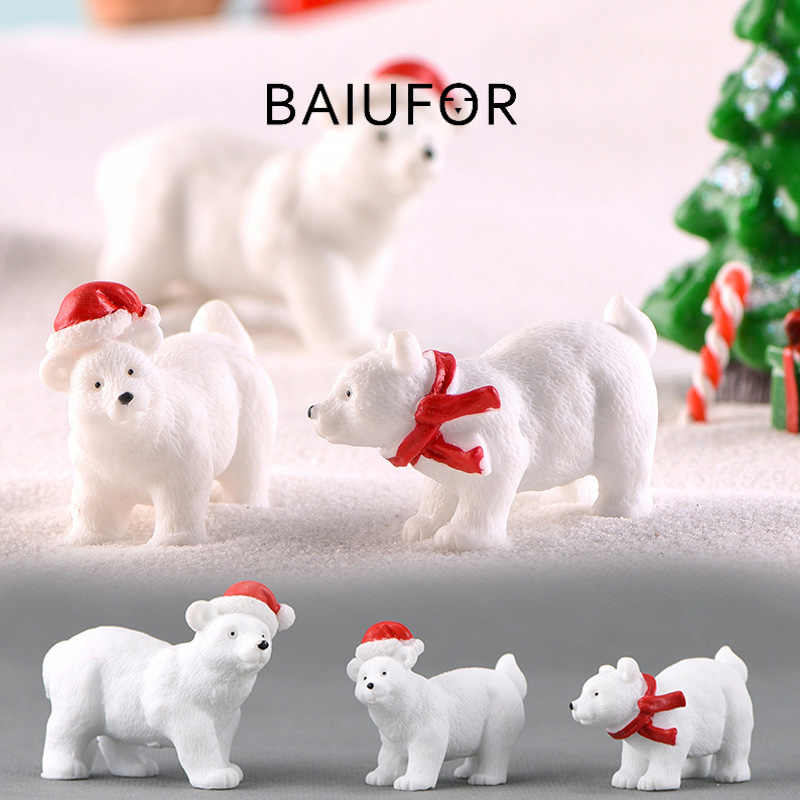 BAIUFOR Animal Miniature Christmas Polar Bear Figurines Fairy Garden Miniaturas Micro Snow Landscape DIY Terrarium Accessories