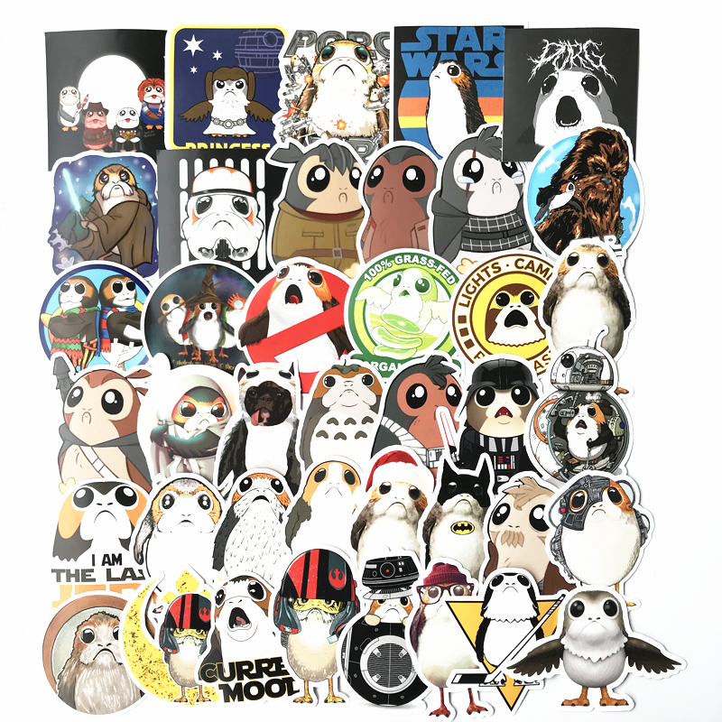40 Pcs/Lot Star Wars Cute Bird Porg Porglet Chewbacca Stickers For Car Laptop Skateboard Pad Bicycle Phone Decal