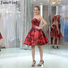 Janevini robe courte Цветочные Выпускные платья красное короткое