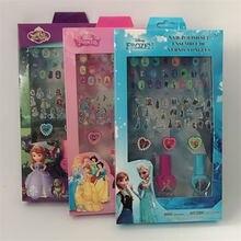2018 new Makeup toys boxed nail stickers children DIY cartoon nail patch polish nail stickers diamond jewelry beauty makeup set