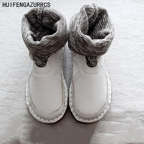 HUIFENGAZURRCS-New comfortable flat boots,pure handmade shoes,the retro art mori girl shoes wool mouth ankle boots round boots huifengazurrcs new pure handmade casual