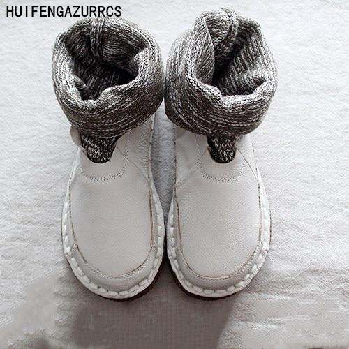Ayakk.'ten Ayak Bileği Çizmeler'de HUIFENGAZURRCS Yeni rahat düz çizmeler, saf el yapımı ayakkabı, retro sanat mori kız ayakkabı yün ağız yarım çizmeler yuvarlak çizmeler'da  Grup 1