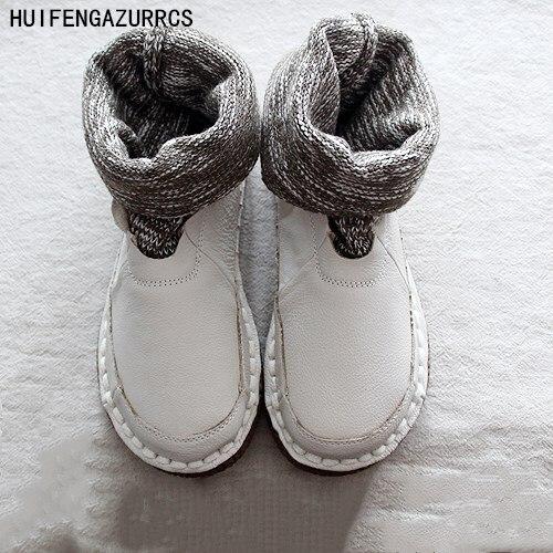 HUIFENGAZURRCS ใหม่สบายแบนรองเท้าทำด้วยมือรองเท้า, retro mori สาวรองเท้าผ้าขนสัตว์ปากข้อเท้ารองเท้ารอบรองเท้า-ใน รองเท้าบูทหุ้มข้อ จาก รองเท้า บน   1