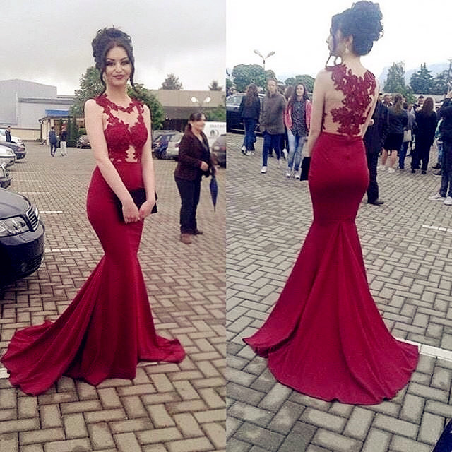 Arabic Red Mermaid   Prom     Dresses   Long 2019 vestidos de fiesta de noche Sheer Special Occasion   Dress   Formal Women Evening Gowns