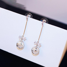 New Round Opals Bowknot Crystal Pendant Drop Earrings For Women Fashion Jewelry Flowers Sweet Brincos Cute