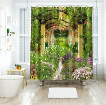 3d Garden Flower Shower Curtains Beauty Nature Bamboo Stream Bathroom Curtain Thicken Waterproof Thickened Bath