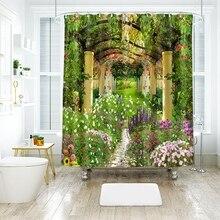 3d Garden Flower Shower Curtains Beauty Nature Bamboo Stream Bathroom Curtain Th