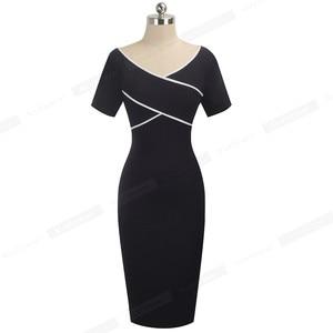 Image 4 - Nice Forever Elegant Vintage Patchwork Work vestidos Business Party Bodycon Office Sheath Women Dress B519