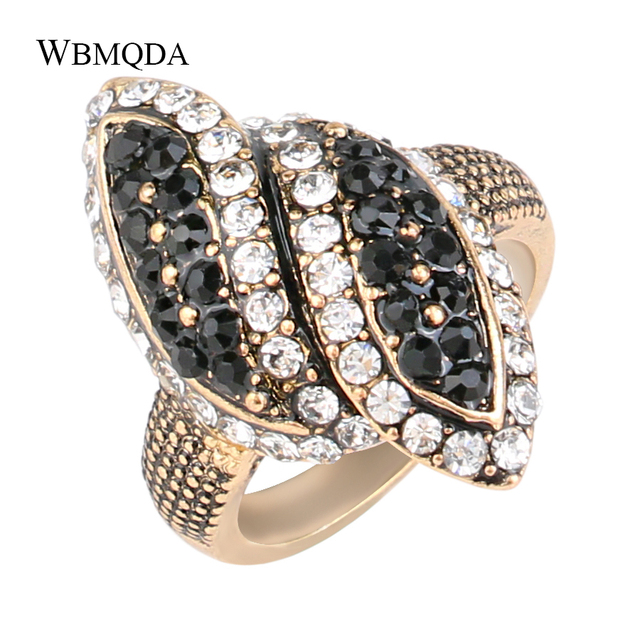Wholesale Vintage Black Crystal Big Wedding Rings For Women Antique Gold Color Wave Ring Fashion Jewelry Free Shipping