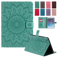 BINUODA For IPad Mini Case Embossed Flower Cards Holder Case Stand Cover With Auto Wake Sleep
