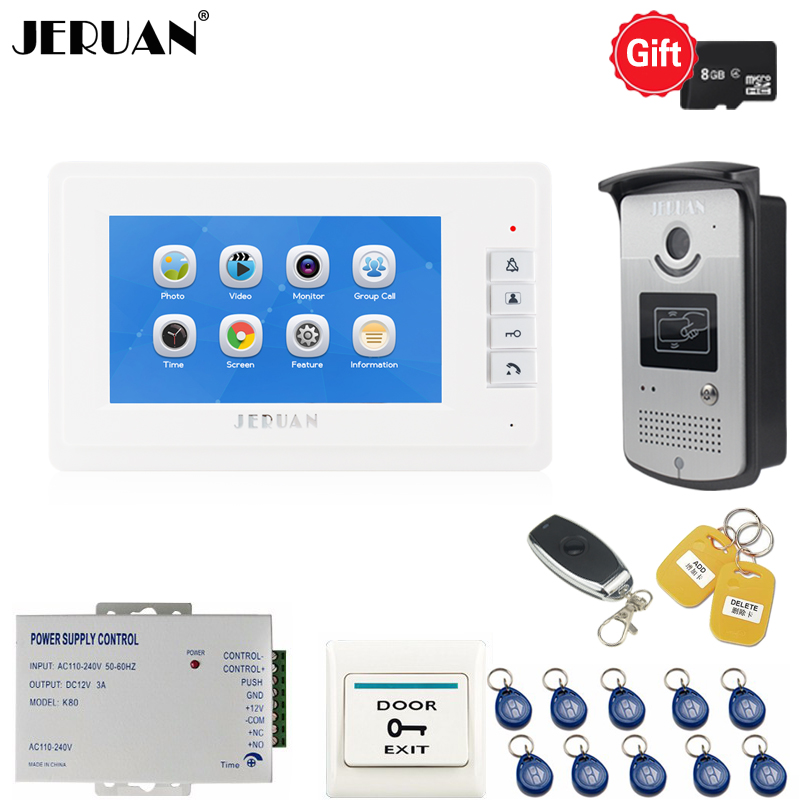 JERUAN New 7 inch LCD Video Intercom Door phone intercom system kit Voice/Video Recording Monitor + RFID Access control Camera