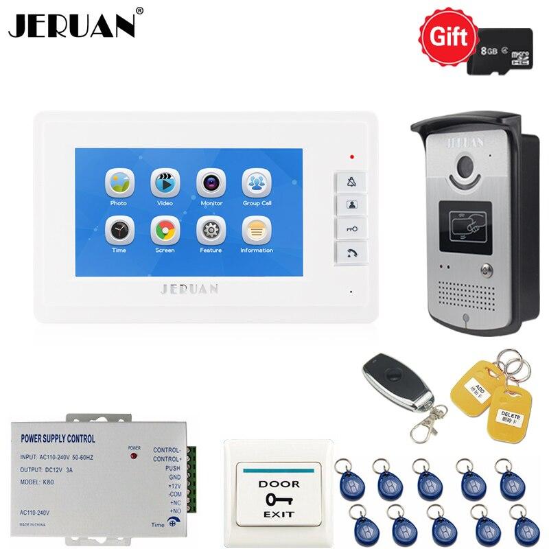 JERUAN Nouveau 7 pouce LCD Interphone Vidéo Porte téléphone système d'interphone kit Voix/Vidéo Enregistrement Moniteur + RFID Accès contrôle Caméra