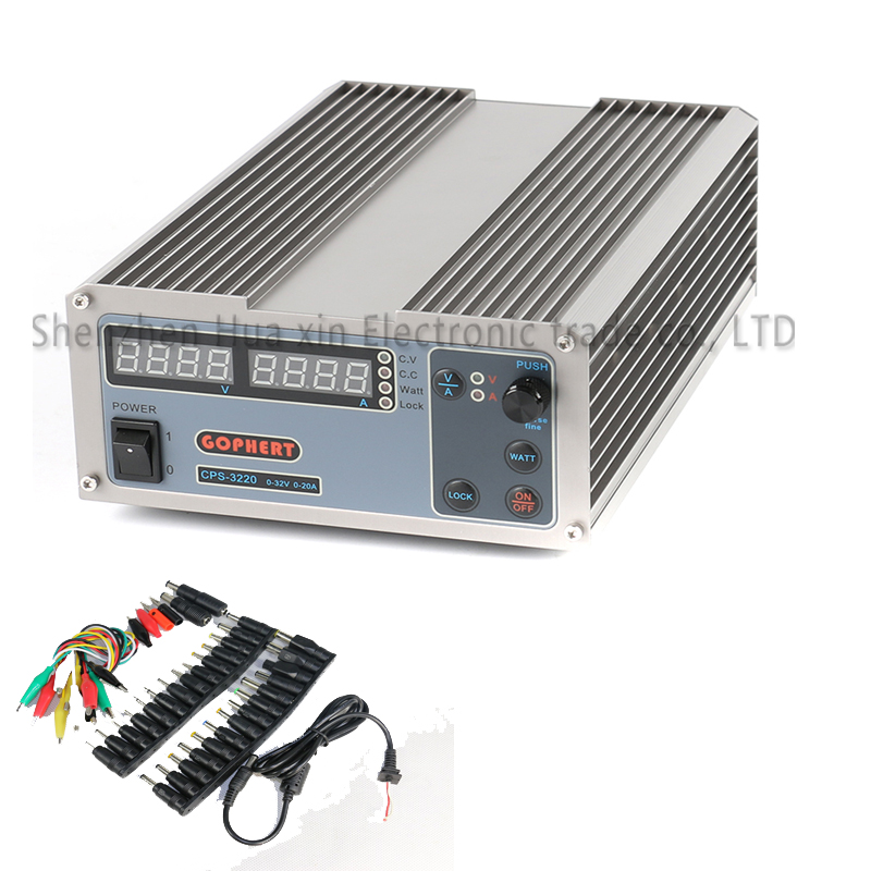 CPS-3220 Precision Compact Digital Adjustable DC Power Supply OVP/OCP/OTP Low Power 32V20A 220V 0.01V/0.01A +39pcs test line cps 6011 60v 11a digital adjustable dc power supply laboratory power supply cps6011