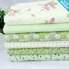 Diy handmade patchwork fabric fresh green 100 cotton cloth small neadend 6 colours a set 50
