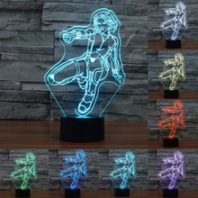 3D The Avengers Lamp Super Hero Black Widow USB touch switch Table Lamp 7 Color Changing Night Light  Child Toy IY803560
