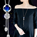 2016 New Arrival Women Pendant Hollow The Big Crystal Long Tassel Paragraph Sweater Chain All-match Decorative Necklace